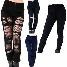 New Womens Ladies Knee Ripped Skinny Slim Fit Denim Jeans Trouser UK 6-14