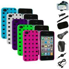 Color Basket Weave Hard Snap-On Rubberized Case+8X Accessory for iPhone 4 4S 4G