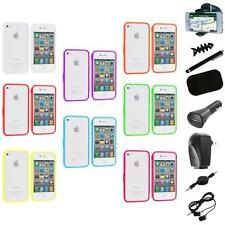 Bumper TPU Solid Jelly Color Rubber Skin Case+8X Accessory for iPhone 4 4S 4G