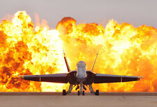 F-18 Hornet Backed With Fire - Plane Poster Print - Military Jet Photo Art