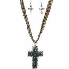 Western Hammered Tooled Cross Patina Pendant Chain Necklace Earrings Set