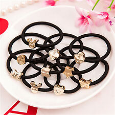 10pcs Women's Elastic Black Hair Ties Rope Band Ponytail Ring Holder Accessories