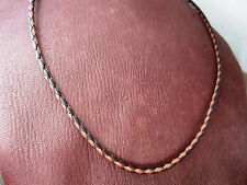 Black & Tan Braided Bolo Leather Cord Necklace - Sterling Silver Antiqued Ends