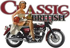 CLASSIC BRITISH MOTORCYCLE T SHIRT RETRO BIKE BIKER PIN UP GIRL MOTOR BIKE TOPS
