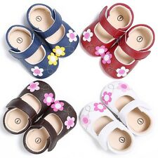 Newborn Toddler Baby Girls Soft PU Flower Princess Shoes Infant Non-slip Sandals