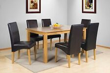 SOLID WOOD OAK FINISH DINING TABLE + 6 DINING CHAIRS IN BROWN BLACK FAUX LEATHER