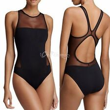 Womens Black One Piece Mesh Patchwork Bikini Swimsuit Push Up Monokini Swimwear