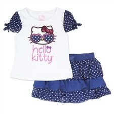 NWT Hello Kitty Little Girls Navy/White Polka Dot Sparkly Skirt & Top Set: 4-6X