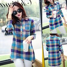 Womens Long Sleeve Loose Blouse Cotton Linen T-Shirt Casual Check Lapel Tops Tee