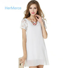 Hot Stitching Bud Silk Chiffon Short Sleeves Lace Shoulder Pure Color Sexy Dress