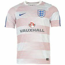 Nike England Mens Pre Match Jersey White/Royal Football Soccer Shirt Top