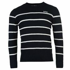 Lee Cooper Stripe Jumper Mens Navy/White Sweater Pullover Top