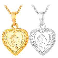 Heart Pendant Queen Head Design Necklace 18K Gold Plated Fashion Women Jewelry