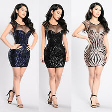 Sexy Women Sequin Bodycon Slim Pencil Cocktail Party Evening Mini Dress Clubwear