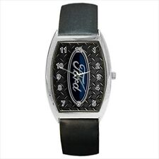 Ford Emblem Barrel Style Watch (Leather & Stainless Steel Straps)