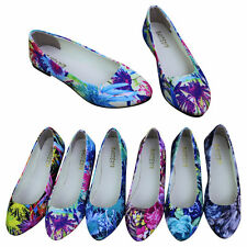 Ladies Womens Floral Print Flat Ballerina Pumps Ballet Casual Shoes Sandals Size