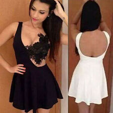 Women Sexy Lace Hook Flowers  Embroidery Floral Lace Dress Crochet Party Dress
