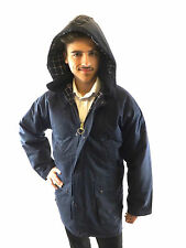 New Wax Jacket Navy Blue Padded Mens Country Classic Waxed Coat With Hood