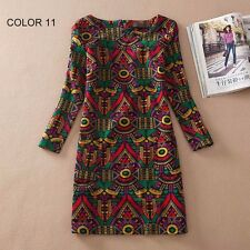 Flower Print Ladies Long Sleeve Casual Dress Free Shipping  2017 Spring