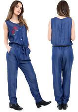 Womens Ladies Embroidered Floral Denim Look All In One Jumpsuit Playsuit UK 8-14