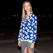 NWT OLIVIA PALERMO + CHELSEA28 Blue Printed 100% Silk Pajama Look Blouse Top $98