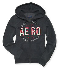 AEROPOSTALE WOMENS HOODIE FULL ZIP SWEATSHIRT JACKET AERO APPLIQUE NEW YORK 87