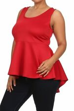 Plus Peplum Top Hi Low Flare Ruffle Sleeveless Solid Pleated Sexy Tank Red Shirt