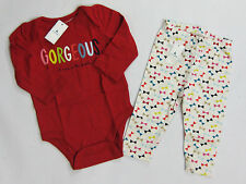 NWT Baby Gap Girls Size 0 3 6 12 18 Months Red Gorgeous Top Shirt Bow Leggings