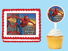 Spider-Man Edible Birthday Party  Cake Cupcake Toppers Plastic Pick Sticker