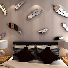 Creative 8pcs Feather Designed 3D Mirror Craft Kid Home Decor Wall Stickers