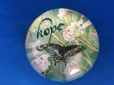 "Butterfly - HOPE -  ""Lynnea Washburn"" Glass Dome Paperweight"