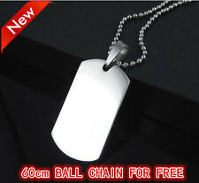 Stainless steel Military Pendant Titanium Dog Tag Necklace free 60cm ball chain
