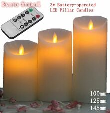 3X REMOTE CONTROL LED SOFT FLAMELESS FLICKERING FLAME CANDLES PILLAR CHURCH LKO