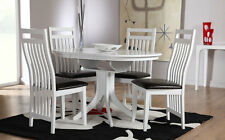 Hudson & Java White Dining Table & 4 6 Leather Chairs Set