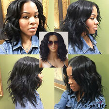 US Ship Lace Front Wig Heat Safe Synthetic Hair Full Wigs Afro Curly Wavy Black