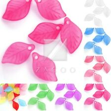 69pcs Acrylic Leaf Beads Jelly-like DIY Jewelry Making Crafts 18x11x3mm 7 Colors