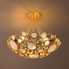 Modern Gold Flush Mount Chandeliers Glass Ring Round Ceiling Fixture Pendant New