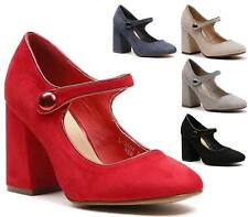 NEW WOMENS HIGH HEEL BLOCK MARY JANE BUTTON STRAP DOLLY COURT LADIES SHOES SIZE