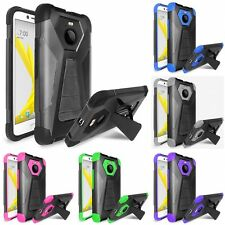 For HTC BOLT Dual Layer Hard Soft Kickstand Case Phone Cover