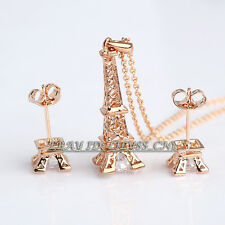 """A1-S143 Fashion CZ """"Eiffel Tower"""" Necklace & Earrings Jewelry Set 18KGP Crystal"""