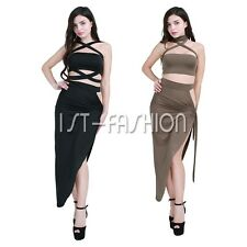 Sexy Women's Crop Top+Skirt Split Bodycon Evening Party Hollow Out Bandage Dress