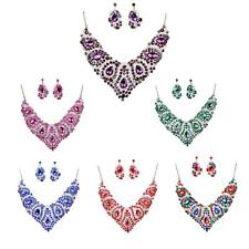 Women Crystal Rhinestone Statement Chain Choker Necklace Earrings Jewelry Set