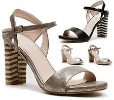 Ladies Womens Block High Heel Summer Ankle Buckle Party Cuff Sandals Shoes Size