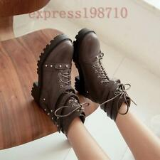 Punk Women Lace Up Spikes Belt Casual Block High Heels Gothic Shoes Ankle Boots