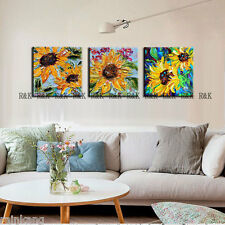 Modern Abstract Large Wall Decor Oil Painting On Canvas,SUN FLOWERS 3P(No Frame)