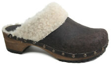 World of Clogs 'Classic Winter' Lambs Wool Clog in Brown leather by Sanita