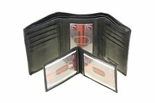 Mens Trifold Wallet Genuine Leather Removable ID Cover 3 IDs
