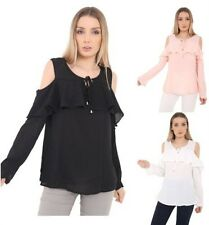 Ladies Womens Crepe Chiffon Blouse Cut Out Cold Off Shoulder Ruffle Tie Top