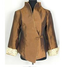 Charming Chinese Women's silk/satin  jacket /coat Coffee Sz:M L XL XXL