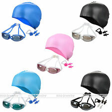 Protection Adult Swim Goggles Swim Cap Ear Plugs Nose Clip Swimming Gear Set